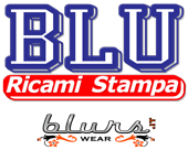 logo blu ricami stampa